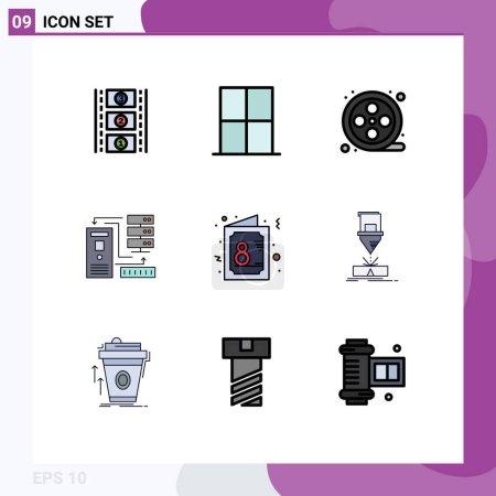 Set von 9 Vector Filledline Flat Colors on Grid für Tag, Information, Film, Elektronik, Daten Editierbare Vektordesign-Elemente