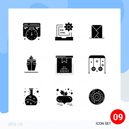 9 Thematic Vector Solid Glyphs and Editable Symbol...