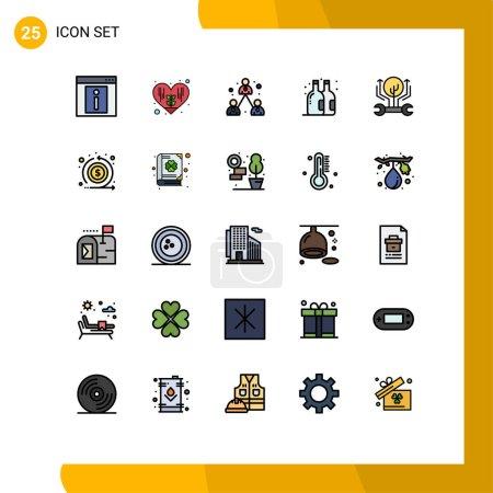 25 Universal Filled line Flache Farbzeichen Symbole für Wachstum, Entwicklung, Geschäft, Sommer, Bier Editierbare Vektor-Designelemente