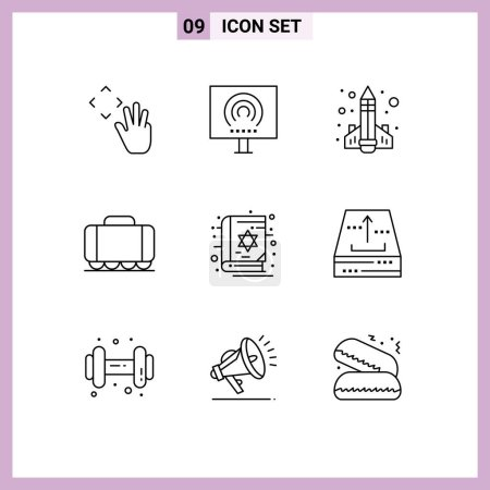 Modern Set of 9 Outlines and symbols such as book,...
