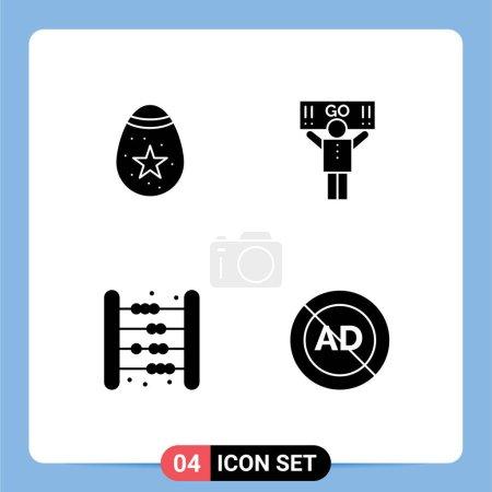 4 Universal Solid Glyph Signs Symbols of bird, bag, egg, support, kids Editable Vector Design Elements