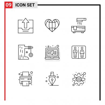 Stock Vector Icon Pack of 9 Line Signs and Symbols...