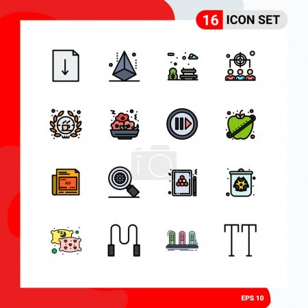 User Interface Pack of 16 Basic Flat Color Filled Lines of shop, barista, bench, management, human Editable Creative Vector Design Elements