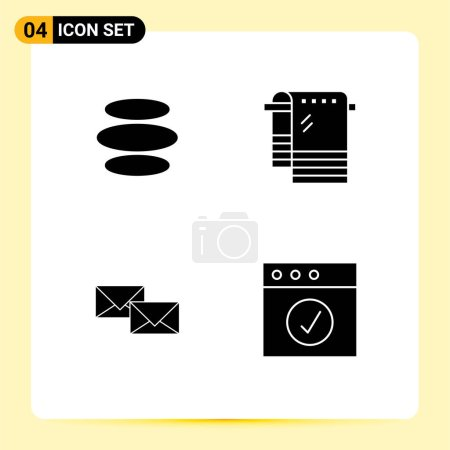 Solid Glyph Pack of 4 Universal Symbols of e dinar, reply, crypto currency, towel, business Editable Vector Design Elements