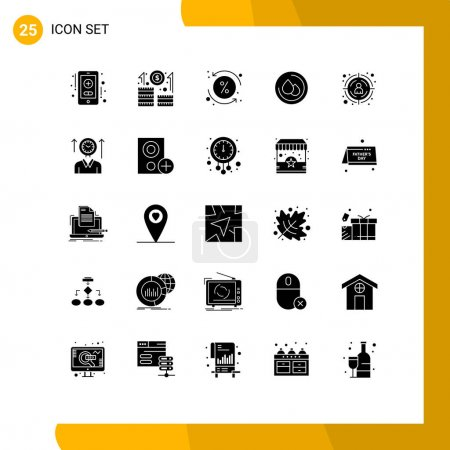 Illustration for User Interface Pack of 25 Basic Solid Glyphs of time, target, loan, seo, droop Editable Vector Design Elements - Royalty Free Image