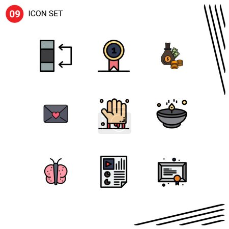 Group of 9 Filledline Flat Colors Signs and Symbols for hand, bloody, bank, heart, mail Editable Vector Design Elements