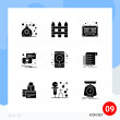Editable Vector Line Pack of 9 Simple Solid Glyphs...