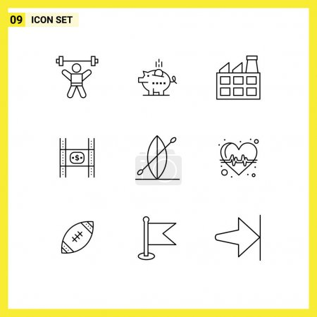 Illustration for Modern Set of 9 Outlines and symbols such as movie, film, safe, costs, industry Editable Vector Design Elements - Royalty Free Image
