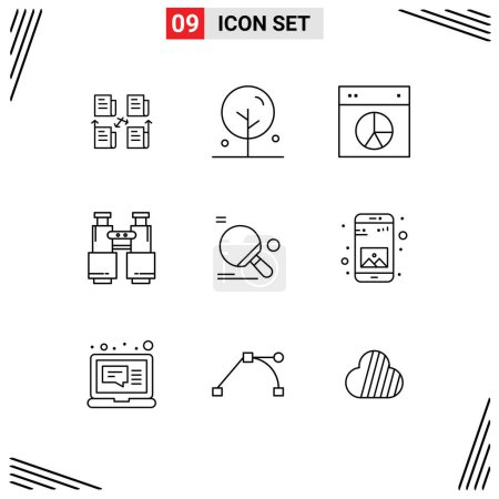 Pack of 9 Modern Outlines Signs and Symbols for We...