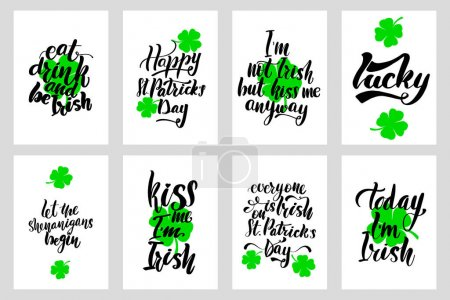Illustration for Happy St Patrick Day Calligraphy Set, Hand Drawing Irish Celebration Lettering Typography Icons Vector stock Illustration. Perfect for holiday greetings, prints, posters. Hand writing inscriptions. - Royalty Free Image