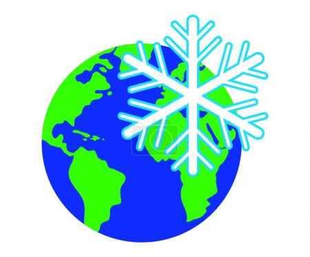 Snowflake against the background of the planet.