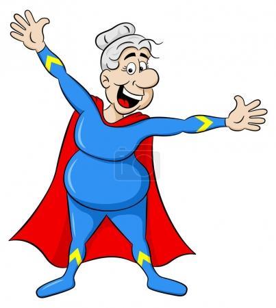Illustration pour Illustration vectorielle d'une super héroïne senior avec cape - image libre de droit