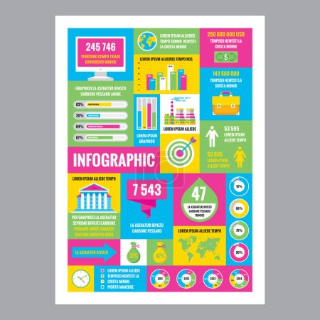 Business infographic - mosaic poster with icons in flat style. Creative design elements.