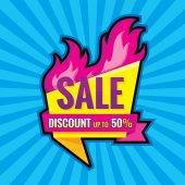 Hot prodej - vektor nápis šablony koncept ilustrace. Sleva až 50 % - kreativní uspořádání s origami odznak a oheň plamen. Designový prvek