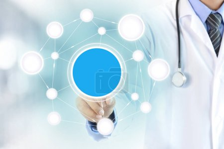 Doctor hand touching blank circle on virtual screen, healthcare and medical background concept