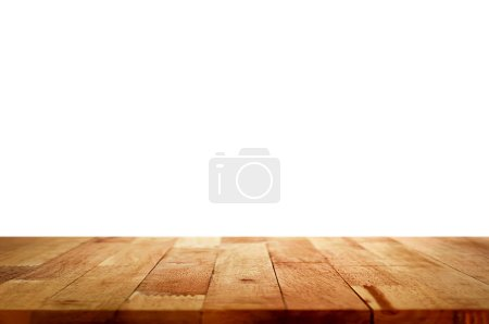 Empty wood table top on white background