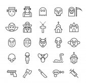 Set of Quality Universal Standard Minimal Simple Monsters Black Thin Line Icons