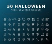 Set of 50 Minimal Thin Line Halloween Icons on Dark Background Isolated Vector Elements