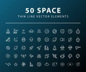 Set of 50 Minimal Thin Line Space Icons on Dark Background Isolated Vector Elements