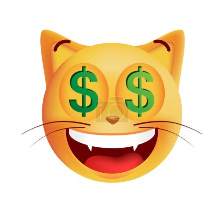 Cute Rich Emoticon Cat on White Background. Isolated Vector Illustration
