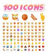 Set of 100 Cute Emoticons on White Background Isolated Vector Illustration