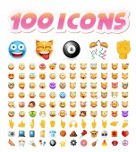 Set of 100 Cute Icons on White Background Isolated Vector Illustration