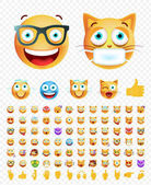 Set of 84 Cute Emoticons on White Background Isolated Vector Illustration