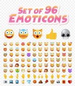 Set of 96 Cute Emoticons on White Background Isolated Vector Illustration