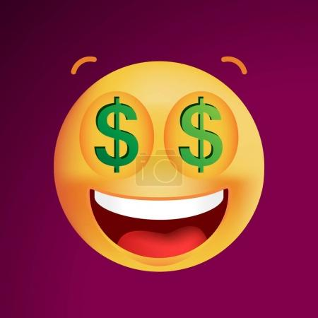 Cute Rich Emoticon on Black Background. Isolated Vector Illustration