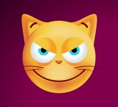 Cute Wicked Emoticon Cat on Dark Background Isolated Vector Illustration