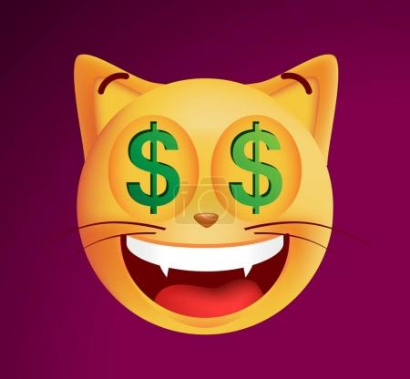 Cute Rich Emoticon Cat on Black Background. Isolated Vector Illustration