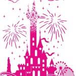 Pattern on t-shirt - Disney's castle amidst amusem...