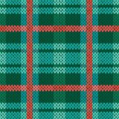 Seamless vector pattern as a woollen Celtic tartan plaid or a knitted fabric texture in green turquoise and terracotta colors