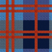 Knitting seamless vector pattern as a woollen Celtic tartan plaid or a knitted fabric texture in blue and red hues