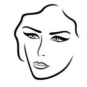 Abstract young lady face hand drown vector outline