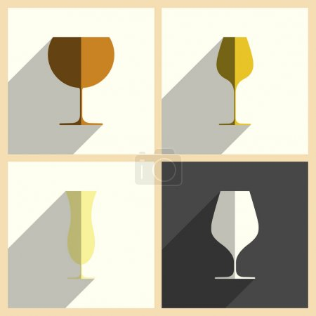 Wineglasses set of flat icons with shadow. Vector illustration