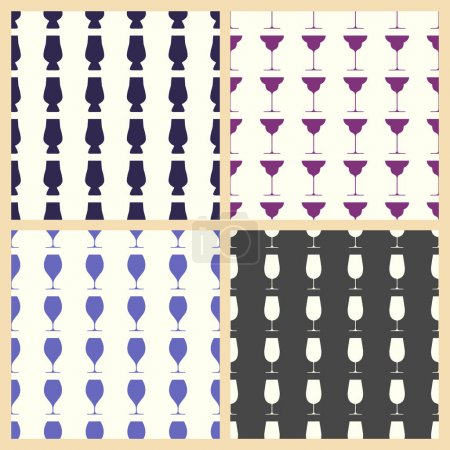 Wineglasses vector illustration on a seamless pattern background