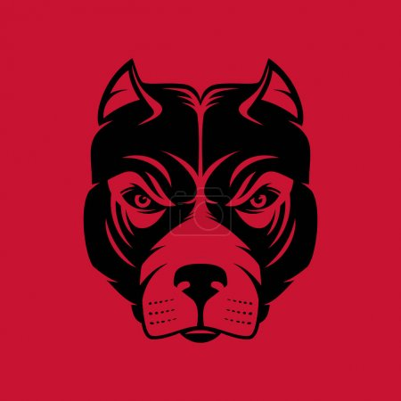 Pitbull. Dog head logo or icon in one color.