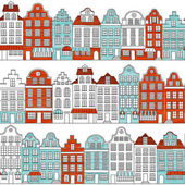 Seamless pattern with townhouses in european style Hand drawn houses Endless background Retro color