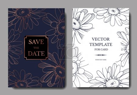 Illustration for Vector Gerbera floral botanical flower. Black and white engraved ink art. Wedding background card floral decorative border. Thank you, rsvp, invitation elegant card illustration graphic set banner. - Royalty Free Image