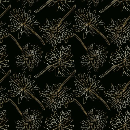 Illustration for Vector Chrysanthemum floral botanical flower. Wild spring leaf wildflower isolated. Black and white engraved ink art. Seamless background pattern. Fabric wallpaper print texture. - Royalty Free Image