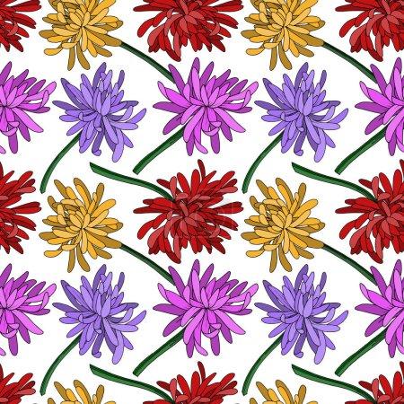 Illustration pour Vector Chrysanthemum fleur florale botanique. Isolement de fleurs sauvages printanières. Encre noire et blanche gravée. Schéma de fond homogène. Texture des papiers peints en tissu. - image libre de droit