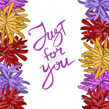 Illustration for Vector Chrysanthemum floral botanical flower. Wild spring leaf wildflower isolated. Black and white engraved ink art. Frame border ornament square. - Royalty Free Image