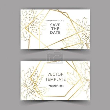 Illustration for Vector Chrysanthemum botanical flower. Black and white engraved ink art. Wedding background card floral decorative border. Thank you, rsvp, invitation elegant card illustration graphic set banner. - Royalty Free Image