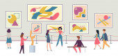 People in gallery Walking tourists and expo fashion stand with artworks or exhibition abstract paintings vector concept