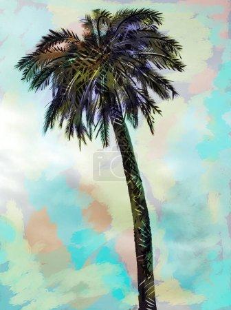 Photo pour Illustration palmier sur fond coloré - image libre de droit