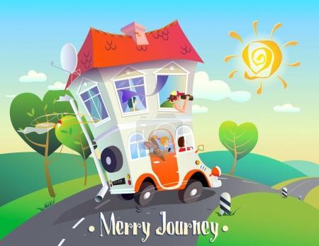 Illustration pour Illustration de bande dessinée créative joyeuse sur autotravel. Une image lumineuse et stylisée d'une maison sur roues avec une famille amusante qui roule le long de la route sur fond de paysage estival. L'inscription Merry Journey - image libre de droit