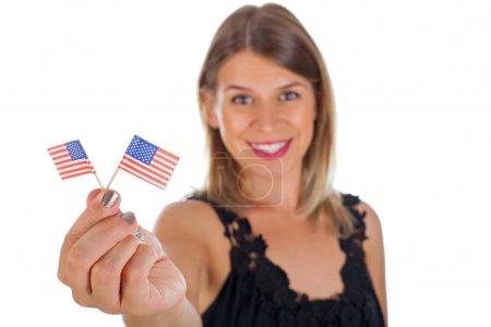 Woman holding USA flag