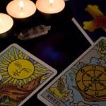 Tarot card reading. Christmas divination, ritual, ...