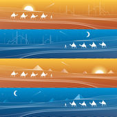 Caravan passes through the sand desert dunes pyramids on the horizon mosques and minarets white lines on blue and orange background day and night panorama vector design art